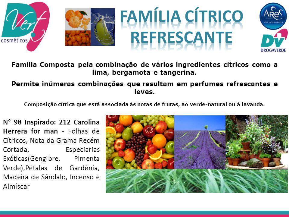 Composição cítrica que está associada às notas de frutas, ao verde-natural ou à lavanda. N° 98 Inspirado: 212 Carolina Herrera for man - Folhas de Cít