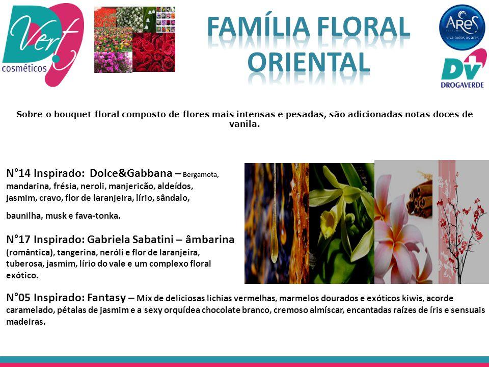Sobre o bouquet floral composto de flores mais intensas e pesadas, são adicionadas notas doces de vanila. N°14 Inspirado: Dolce&Gabbana – Bergamota, m