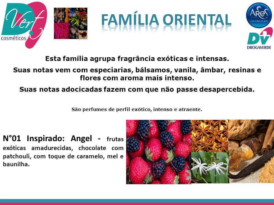 São perfumes de perfil exótico, intenso e atraente. N°01 Inspirado: Angel - frutas exóticas amadurecidas, chocolate com patchouli, com toque de carame