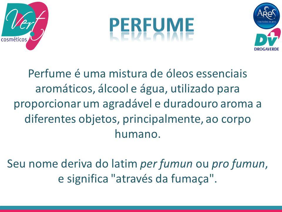 Perfume é uma mistura de óleos essenciais aromáticos, álcool e água, utilizado para proporcionar um agradável e duradouro aroma a diferentes objetos,