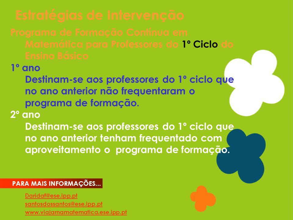 Estratégias de Intervenção Daridaf@ese.ipp.pt santosdossantos@ese.ipp.pt www.viajarnamatematica.ese.ipp.pt PARA MAIS INFORMAÇÕES... Programa de Formaç