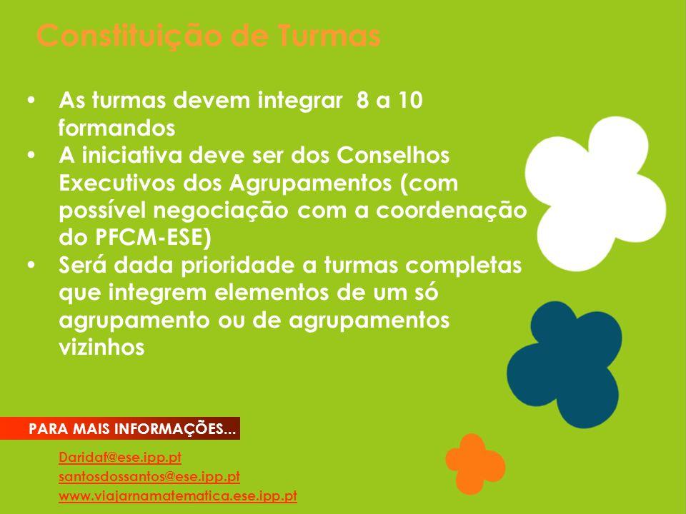 Constituição de Turmas Daridaf@ese.ipp.pt santosdossantos@ese.ipp.pt www.viajarnamatematica.ese.ipp.pt PARA MAIS INFORMAÇÕES...