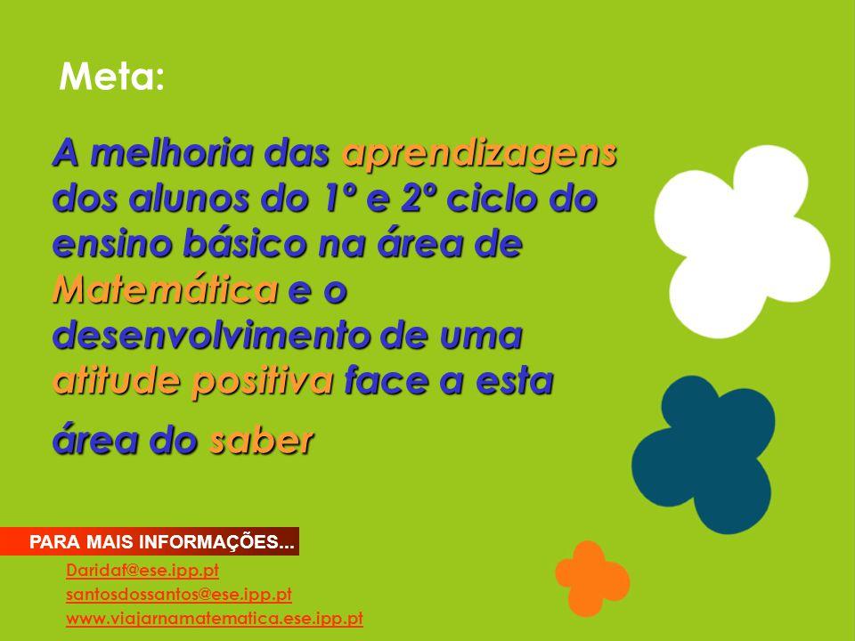 Meta: Daridaf@ese.ipp.pt santosdossantos@ese.ipp.pt www.viajarnamatematica.ese.ipp.pt PARA MAIS INFORMAÇÕES... A melhoria das aprendizagens dos alunos