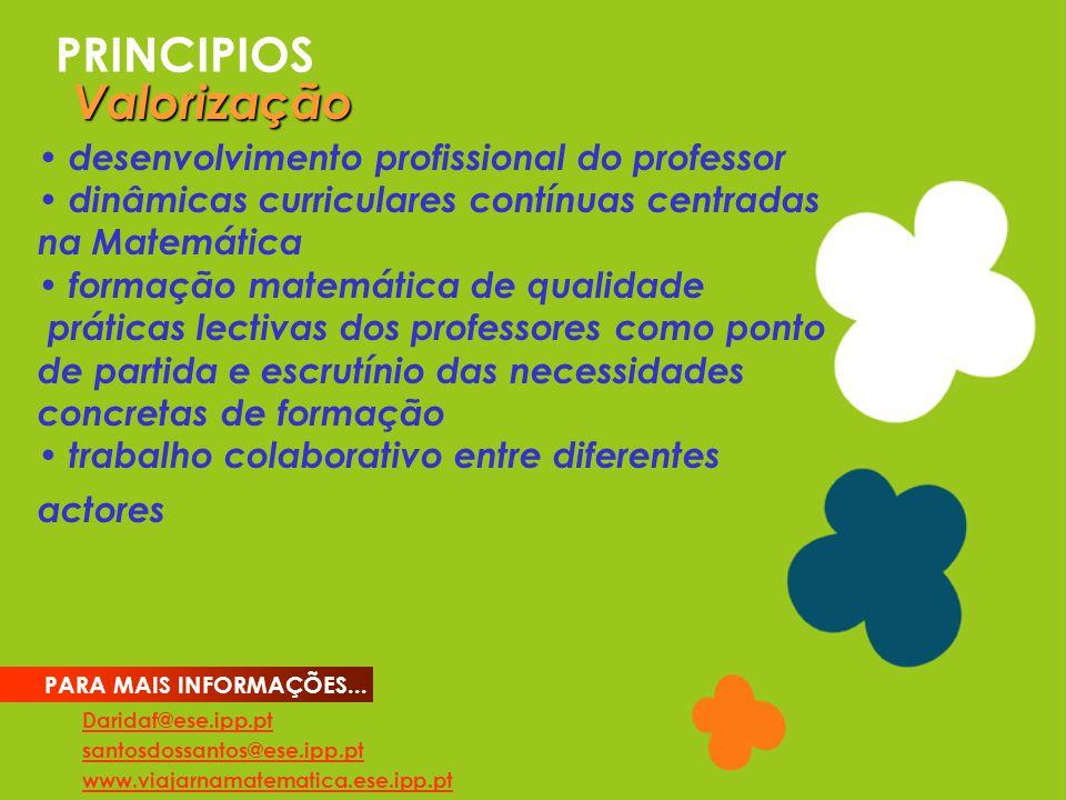 PRINCIPIOS Daridaf@ese.ipp.pt santosdossantos@ese.ipp.pt www.viajarnamatematica.ese.ipp.pt PARA MAIS INFORMAÇÕES... desenvolvimento profissional do pr