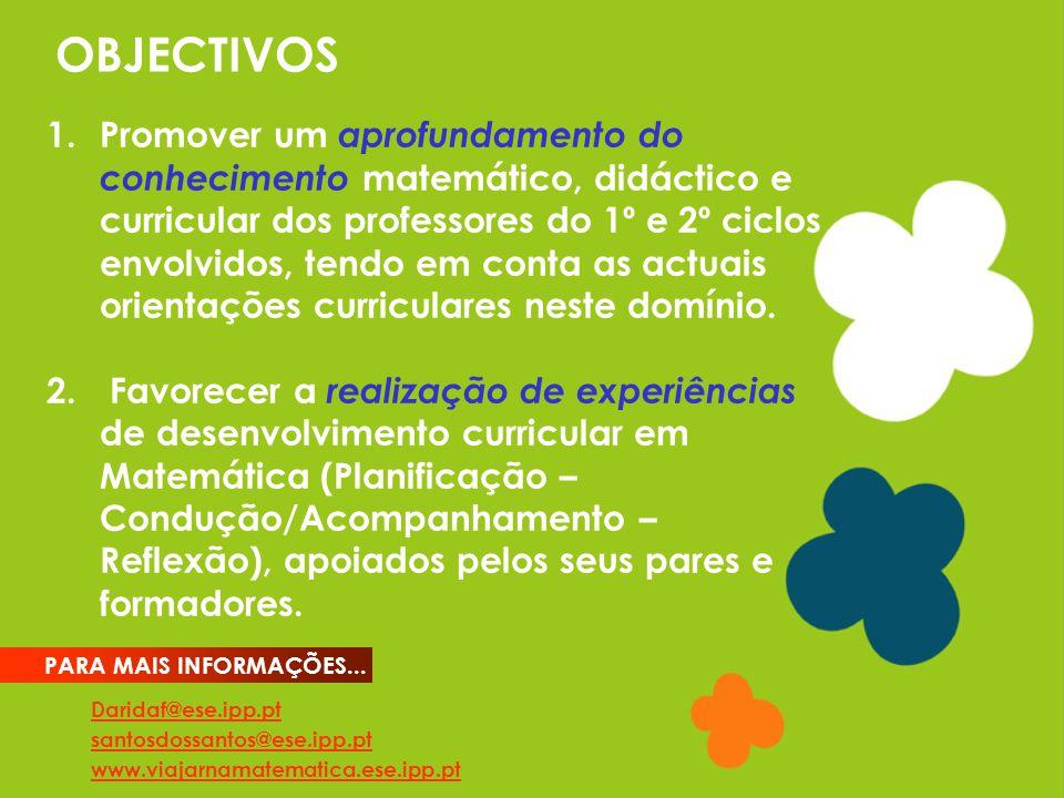 OBJECTIVOS Daridaf@ese.ipp.pt santosdossantos@ese.ipp.pt www.viajarnamatematica.ese.ipp.pt PARA MAIS INFORMAÇÕES... 1.Promover um aprofundamento do co