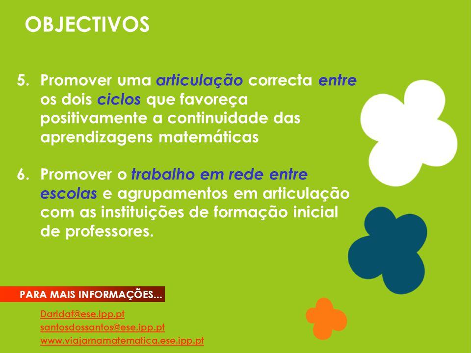 OBJECTIVOS Daridaf@ese.ipp.pt santosdossantos@ese.ipp.pt www.viajarnamatematica.ese.ipp.pt PARA MAIS INFORMAÇÕES...