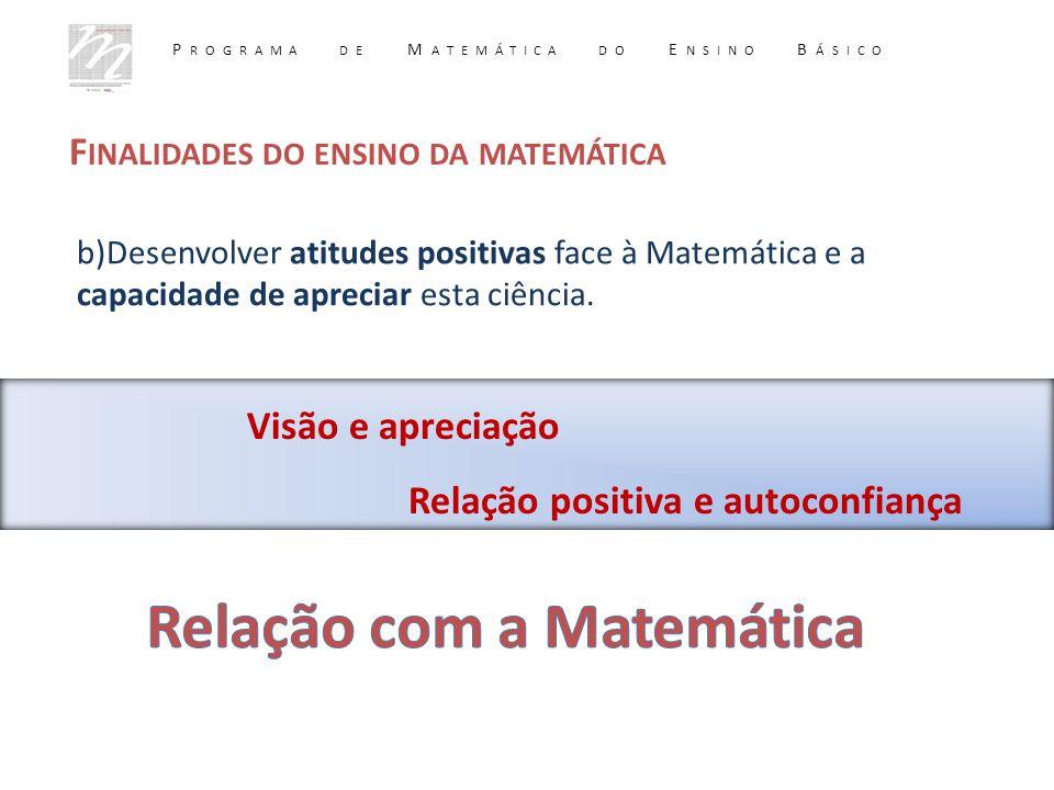 F INALIDADES DO ENSINO DA MATEMÁTICA Visão e apreciação Relação positiva e autoconfiança b)Desenvolver atitudes positivas face à Matemática e a capaci