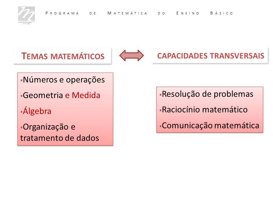 T EMAS MATEMÁTICOS  Números e operações  Geometria e Medida  Álgebra  Organização e tratamento de dados  Números e operações  Geometria e Medida