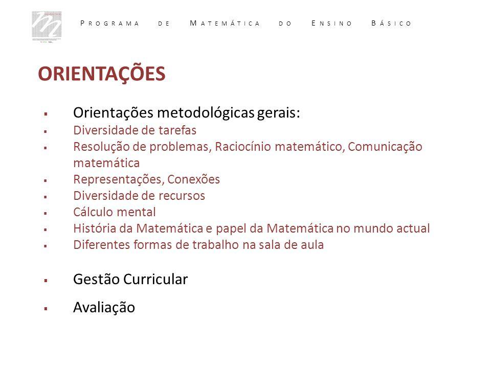  Orientações metodológicas gerais:  Diversidade de tarefas  Resolução de problemas, Raciocínio matemático, Comunicação matemática  Representações,