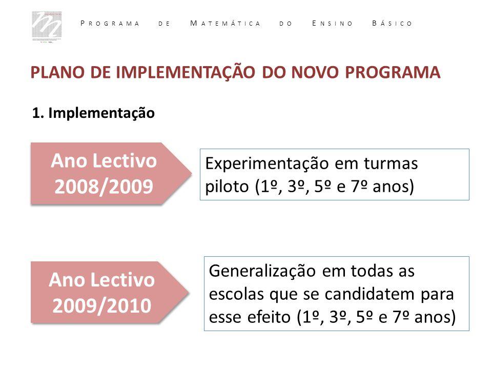 PLANO DE IMPLEMENTAÇÃO DO NOVO PROGRAMA 1. Implementação Ano Lectivo 2008/2009 Ano Lectivo 2009/2010 Experimentação em turmas piloto (1º, 3º, 5º e 7º
