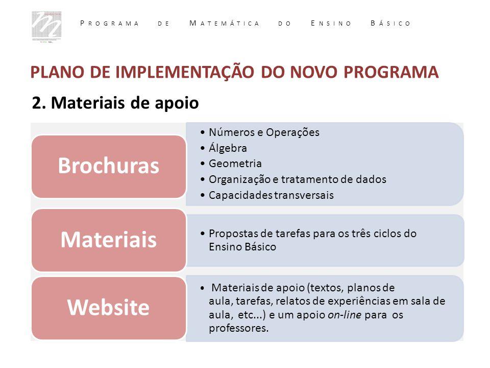 2. Materiais de apoio Números e Operações Álgebra Geometria Organização e tratamento de dados Capacidades transversais Brochuras Propostas de tarefas