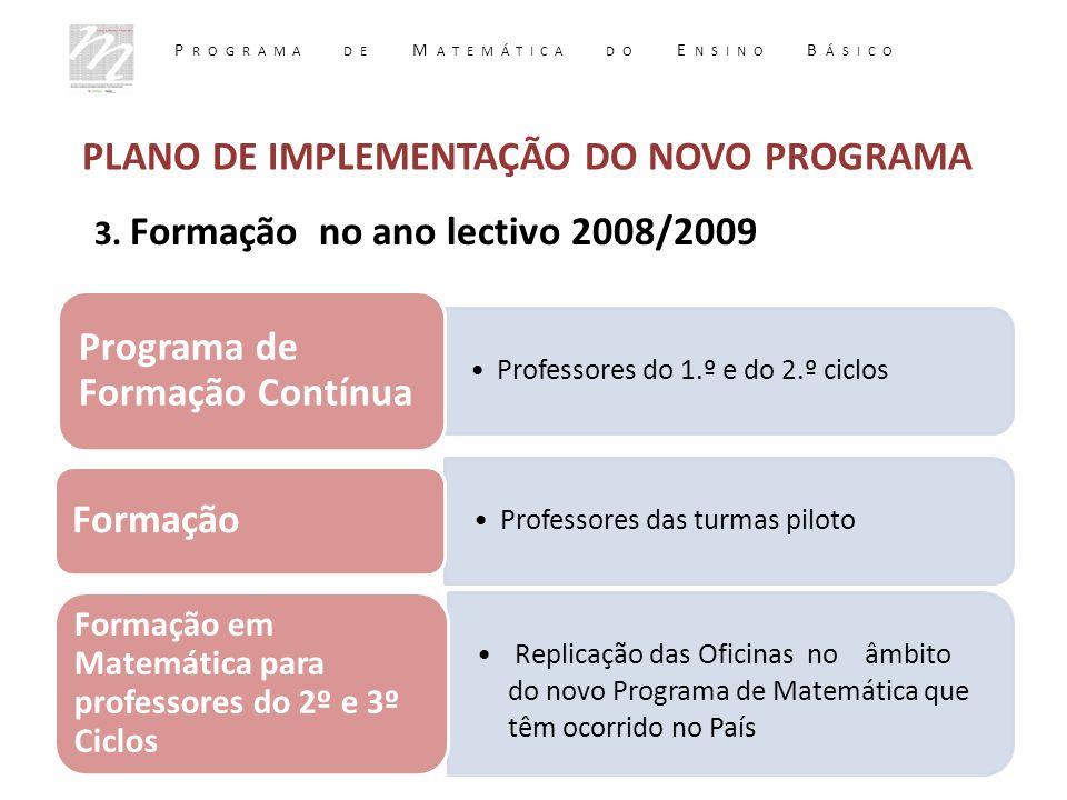 3. Formação no ano lectivo 2008/2009 Professores do 1.º e do 2.º ciclos Programa de Formação Contínua Professores das turmas piloto Formação Replicaçã