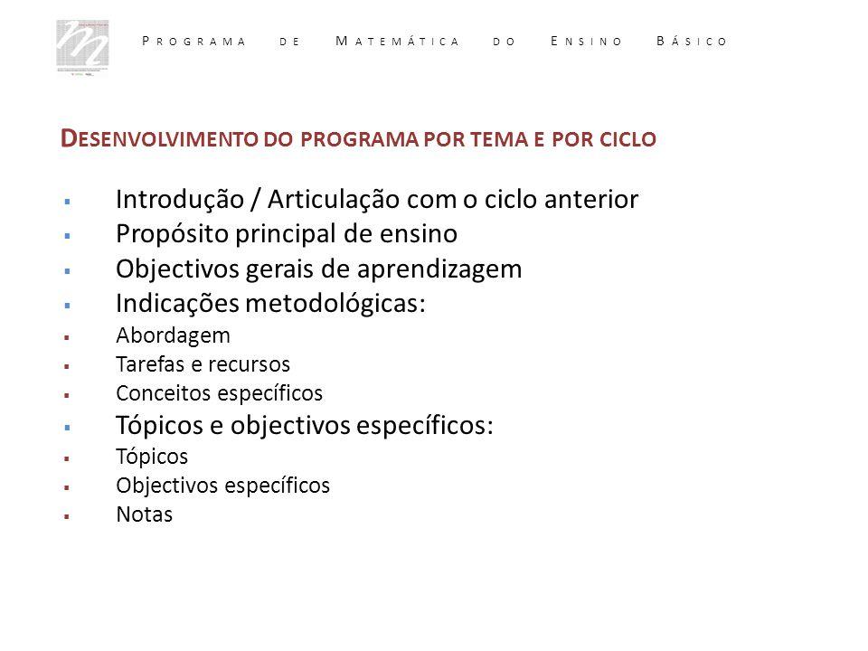  Introdução / Articulação com o ciclo anterior  Propósito principal de ensino  Objectivos gerais de aprendizagem  Indicações metodológicas:  Abor