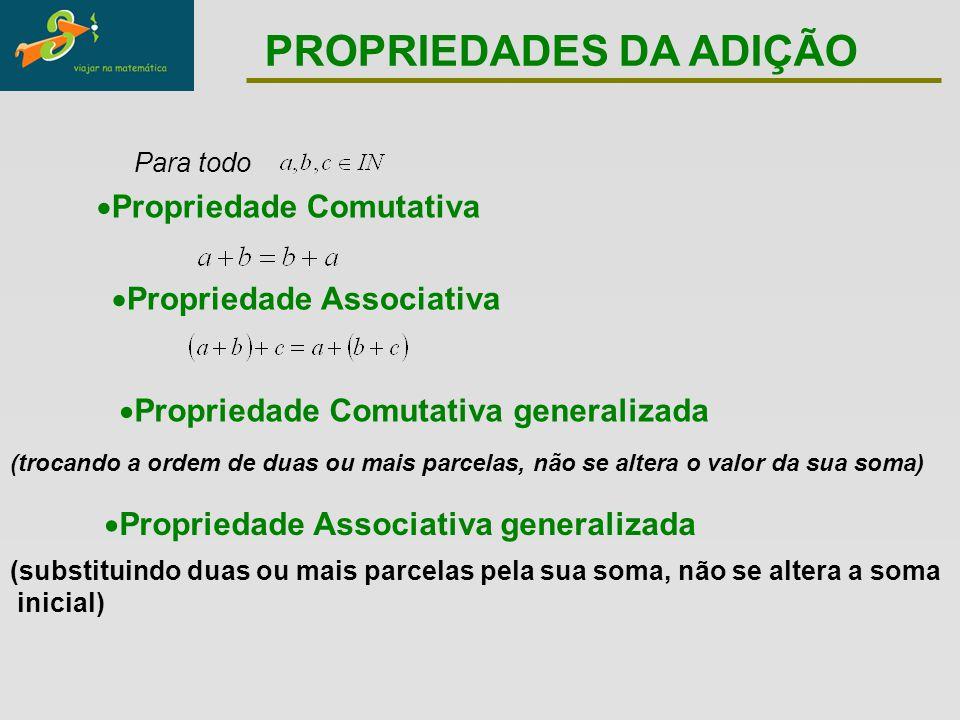  Propriedade Comutativa  Propriedade Associativa  Propriedade Comutativa generalizada (trocando a ordem de duas ou mais parcelas, não se altera o v
