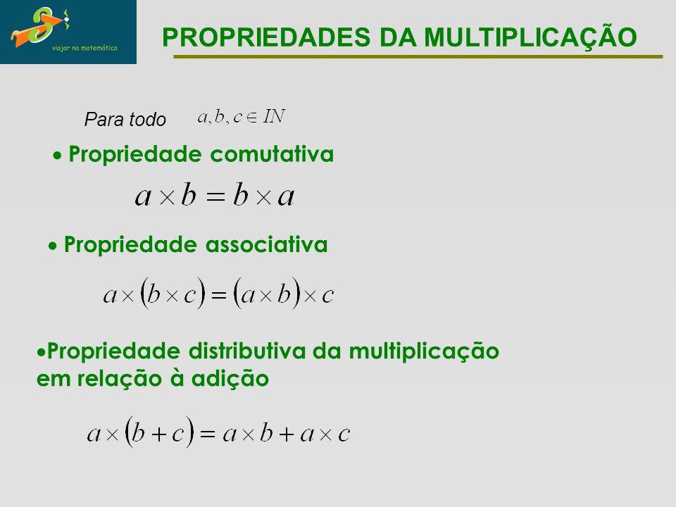 Para todo  Propriedade comutativa  Propriedade associativa  Propriedade distributiva da multiplicação em relação à adição PROPRIEDADES DA MULTIPLIC