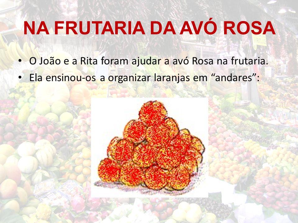 NA FRUTARIA DA AVÓ ROSA Para a base, a avó Rosa começou por dispor 16 laranjas em forma de quadrado:
