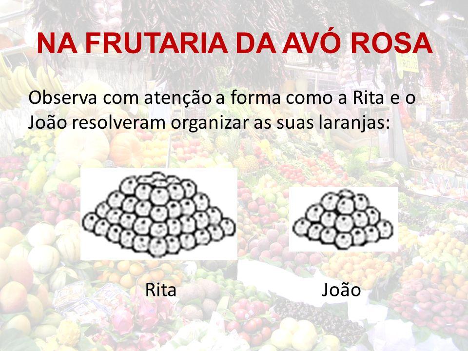 NA FRUTARIA DA AVÓ ROSA Observa com atenção a forma como a Rita e o João resolveram organizar as suas laranjas: RitaJoão