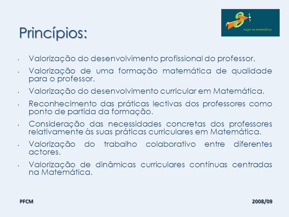 Objectivos: Promover um aprofundamento do conhecimento matemático, didáctico e curricular dos professores do 1º ciclo; Favorecer a realização de experiências de desenvolvimento curricular em Matemática; Desenvolver uma atitude positiva dos professores relativamente à Matemática; Criar dinâmicas de trabalho em colaboração entre os professores de cada ciclo e também entre os dois.