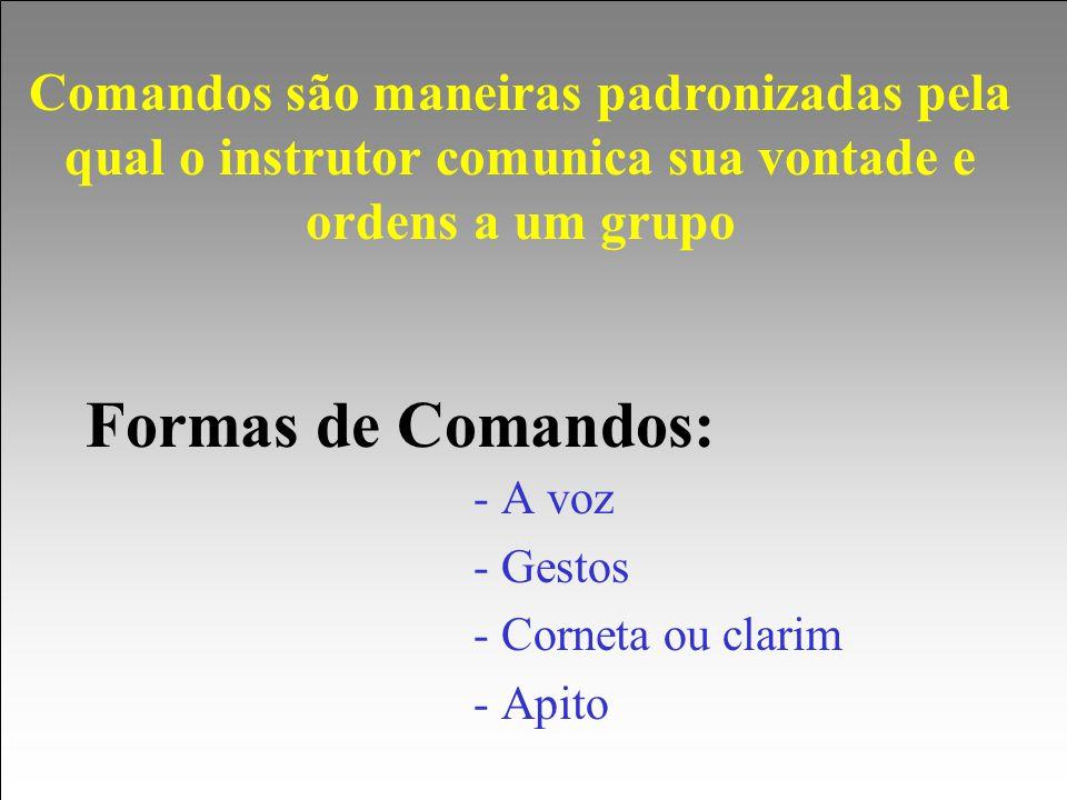 Formas de Comandos: - A voz - Gestos - Corneta ou clarim - Apito Comandos são maneiras padronizadas pela qual o instrutor comunica sua vontade e orden