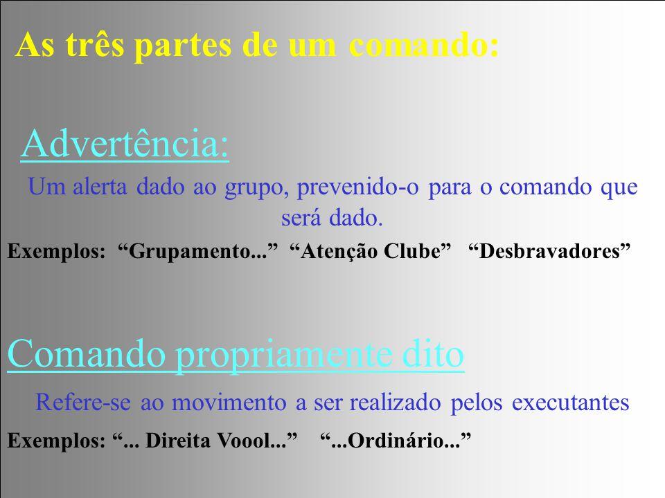 """Advertência: Um alerta dado ao grupo, prevenido-o para o comando que será dado. Exemplos: """"Grupamento..."""" """"Atenção Clube"""" """"Desbravadores"""" As três part"""