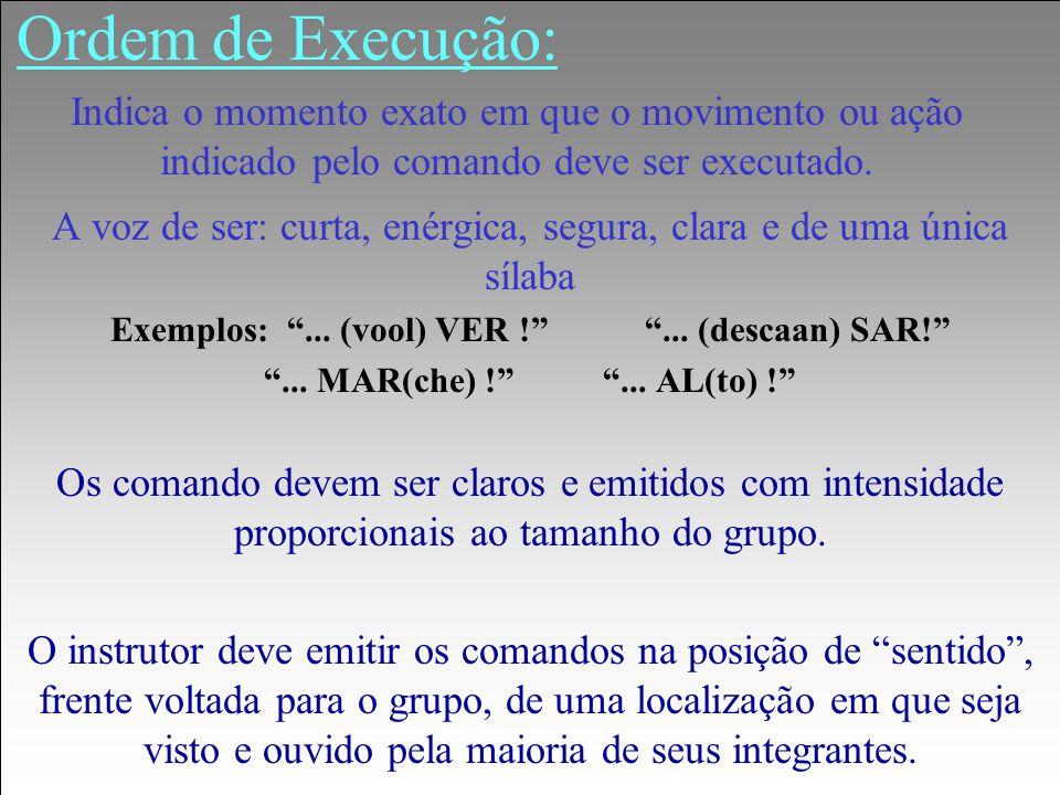 """Ordem de Execução: A voz de ser: curta, enérgica, segura, clara e de uma única sílaba Exemplos: """"... (vool) VER !"""" """"... (descaan) SAR!"""" """"... MAR(che)"""