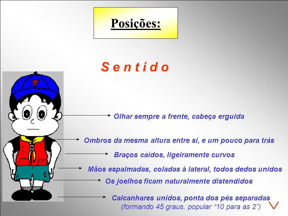 """Posições: S e n t i d o Calcanhares unidos, ponta dos pés separadas (formando 45 graus, popular """"10 para as 2"""") Os joelhos ficam naturalmente distendi"""