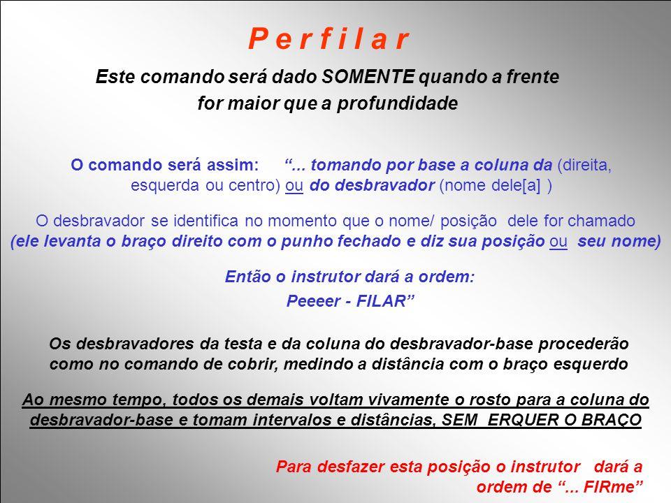 """P e r f i l a r O comando será assim: """"... tomando por base a coluna da (direita, esquerda ou centro) ou do desbravador (nome dele[a] ) Então o instru"""