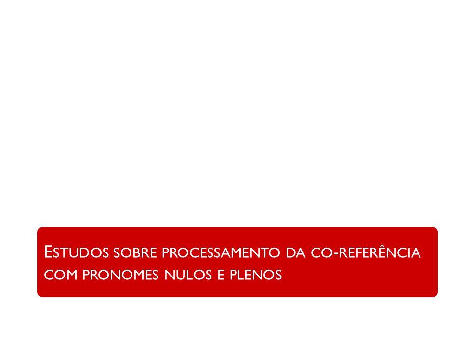 E STUDOS SOBRE PROCESSAMENTO DA CO - REFERÊNCIA COM PRONOMES NULOS E PLENOS