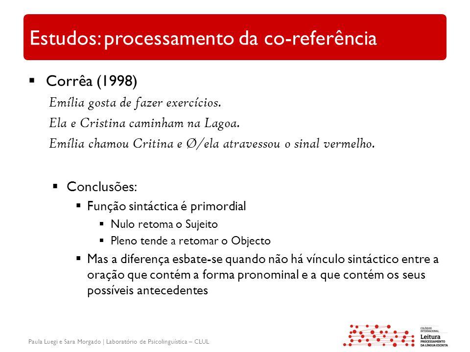 Paula Luegi e Sara Morgado | Laboratório de Psicolinguística – CLUL Estudos: processamento da co-referência  Corrêa (1998) Emília gosta de fazer exercícios.
