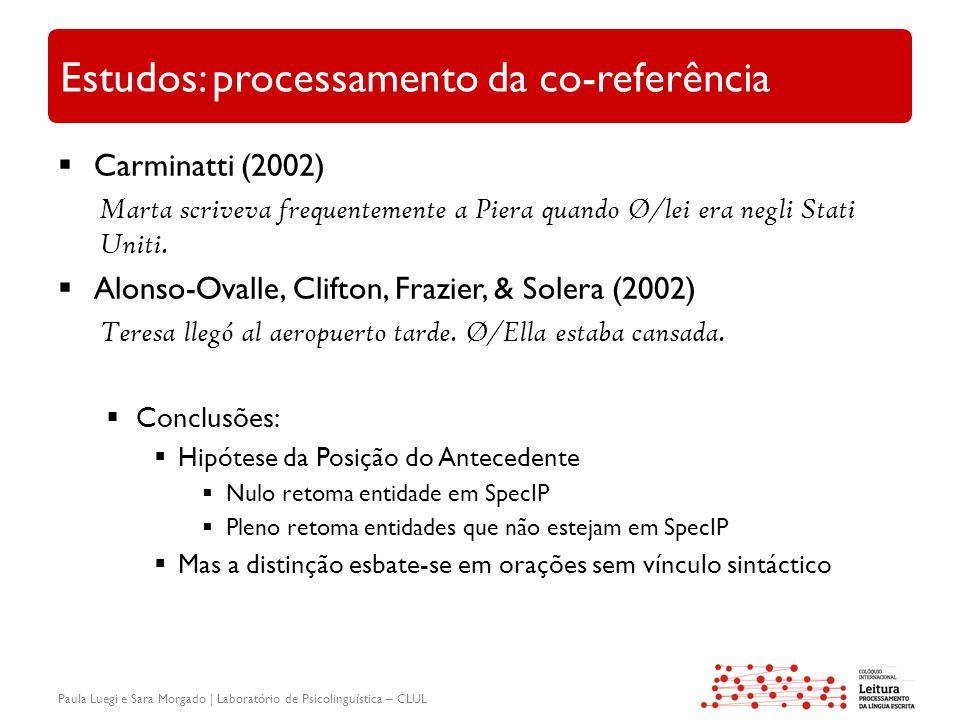 Paula Luegi e Sara Morgado | Laboratório de Psicolinguística – CLUL Estudos: processamento da co-referência  Carminatti (2002) Marta scriveva frequentemente a Piera quando Ø/lei era negli Stati Uniti.