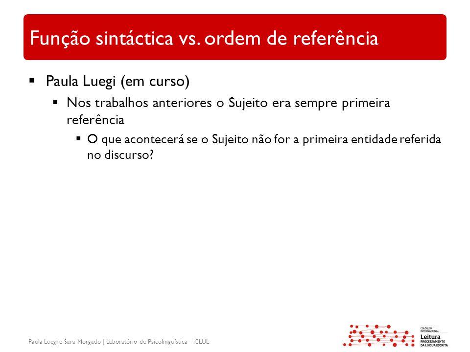 Paula Luegi e Sara Morgado | Laboratório de Psicolinguística – CLUL Função sintáctica vs. ordem de referência  Paula Luegi (em curso)  Nos trabalhos