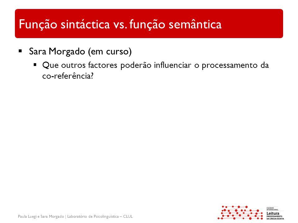 Paula Luegi e Sara Morgado | Laboratório de Psicolinguística – CLUL Função sintáctica vs. função semântica  Sara Morgado (em curso)  Que outros fact