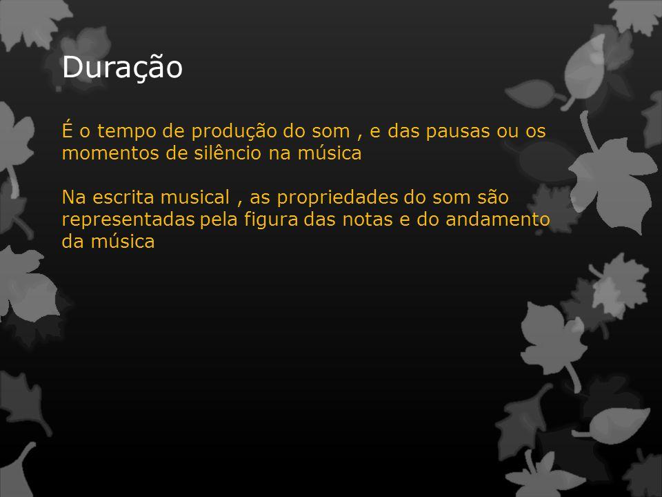 Duração É o tempo de produção do som, e das pausas ou os momentos de silêncio na música Na escrita musical, as propriedades do som são representadas p