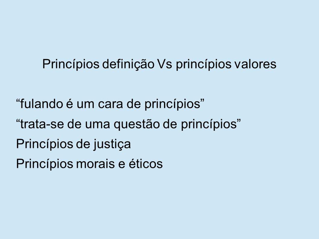 """Princípios definição Vs princípios valores """"fulando é um cara de princípios"""" """"trata-se de uma questão de princípios"""" Princípios de justiça Princípios"""