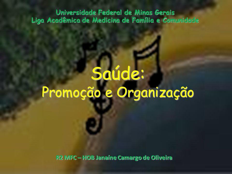 Saúde: Promoção e Organização Universidade Federal de Minas Gerais Liga Acadêmica de Medicina de Família e Comunidade R2 MFC – HOB Janaíne Camargo de Oliveira