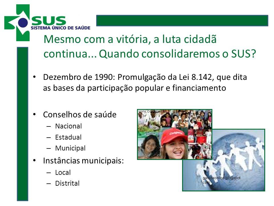 Dezembro de 1990: Promulgação da Lei 8.142, que dita as bases da participação popular e financiamento Conselhos de saúde – Nacional – Estadual – Municipal Instâncias municipais: – Local – Distrital garudaonline.blogspot.