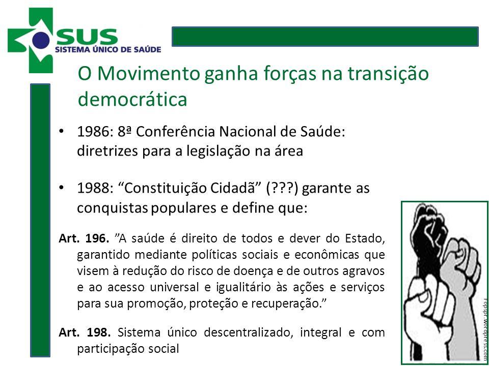1986: 8ª Conferência Nacional de Saúde: diretrizes para a legislação na área 1988: Constituição Cidadã ( ) garante as conquistas populares e define que: Art.