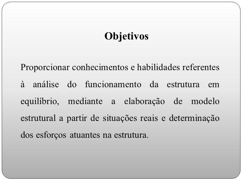 Objetivos Proporcionar conhecimentos e habilidades referentes à análise do funcionamento da estrutura em equilíbrio, mediante a elaboração de modelo e
