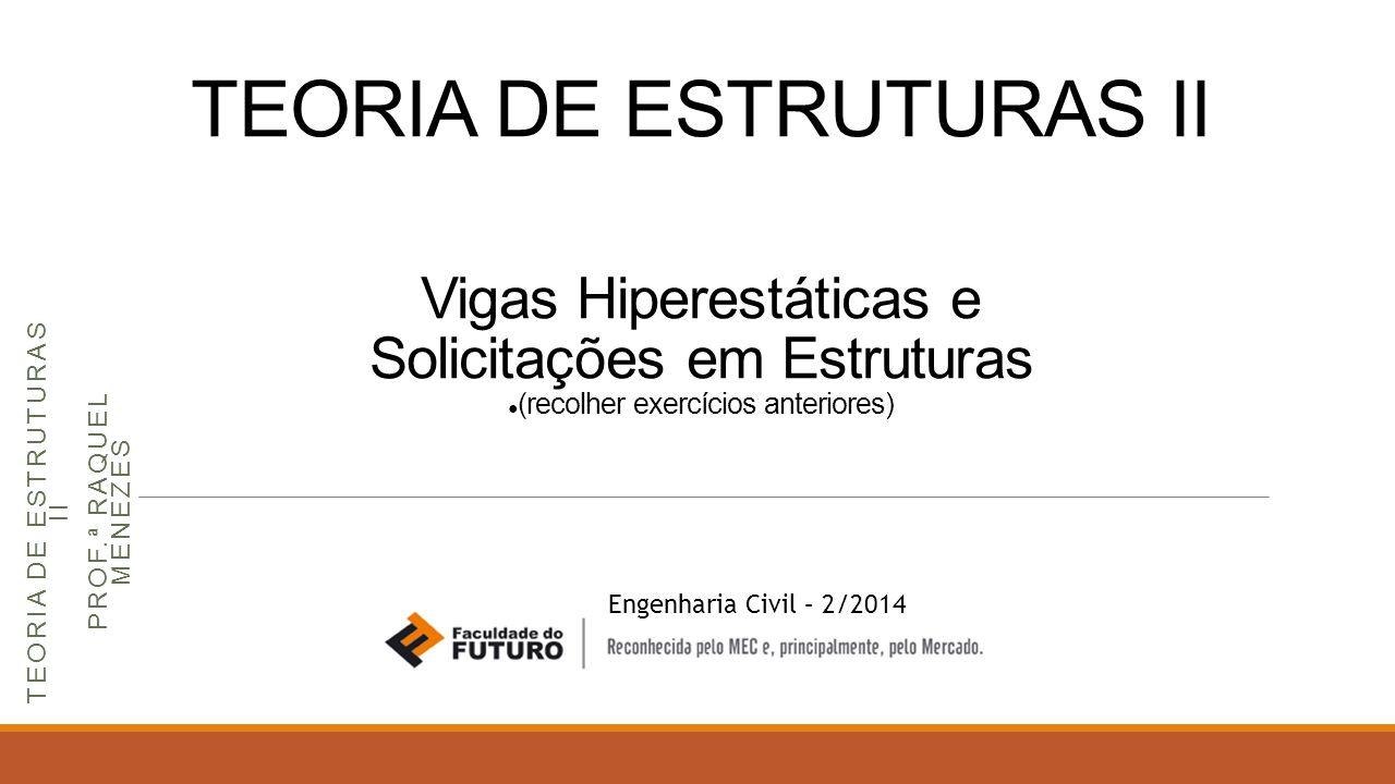 TEORIA DE ESTRUTURAS II Vigas Hiperestáticas e Solicitações em Estruturas ● (recolher exercícios anteriores) Engenharia Civil – 2/2014 TEORIA DE ESTRU
