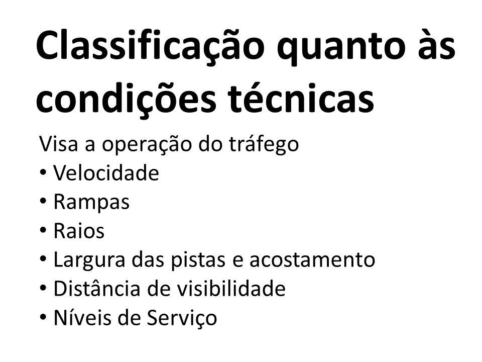 Classificação quanto às condições técnicas Visa a operação do tráfego Velocidade Rampas Raios Largura das pistas e acostamento Distância de visibilida