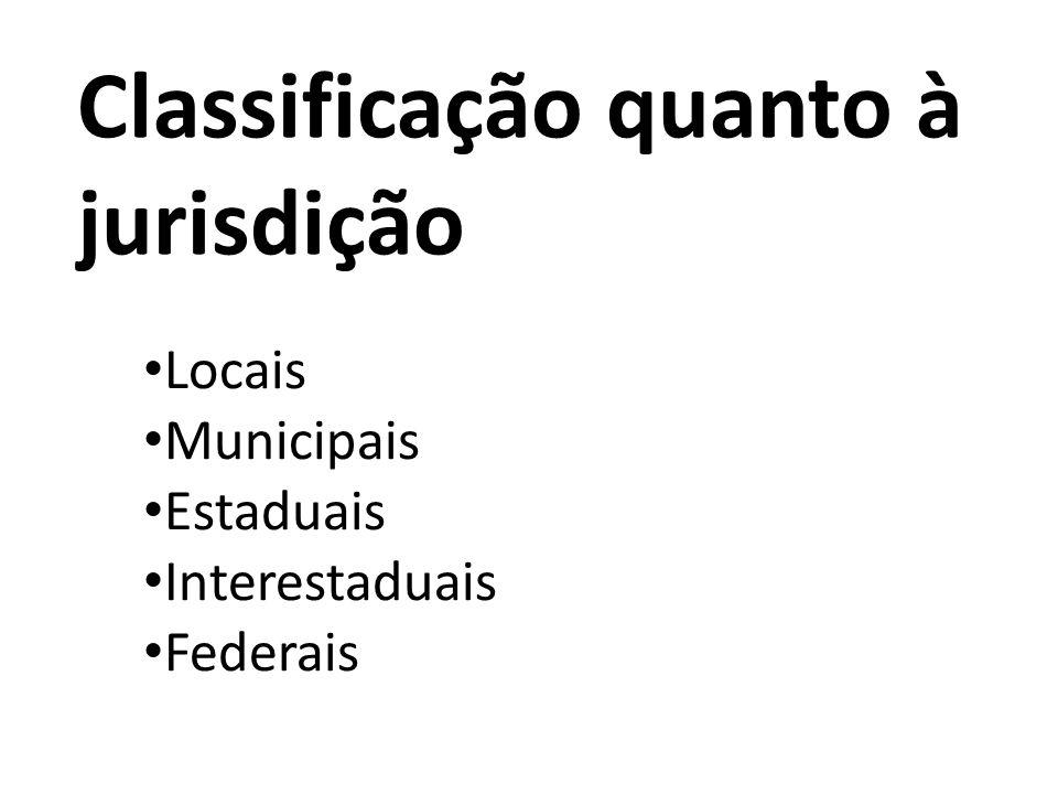 Classificação quanto à jurisdição Locais Municipais Estaduais Interestaduais Federais