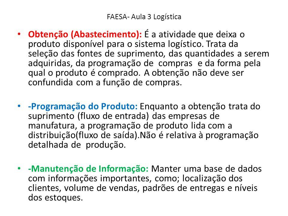 FAESA- Aula 3 Logística Obtenção (Abastecimento): É a atividade que deixa o produto disponível para o sistema logístico. Trata da seleção das fontes d