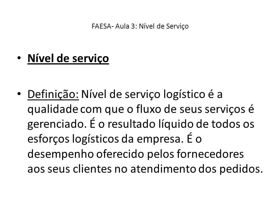 FAESA- Aula 3: Nível de Serviço Nível de serviço Definição: Nível de serviço logístico é a qualidade com que o fluxo de seus serviços é gerenciado. É