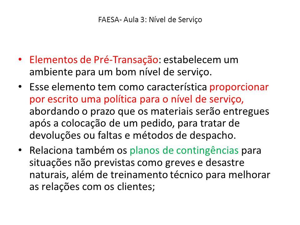 FAESA- Aula 3: Nível de Serviço Elementos de Pré-Transação: estabelecem um ambiente para um bom nível de serviço. Esse elemento tem como característic