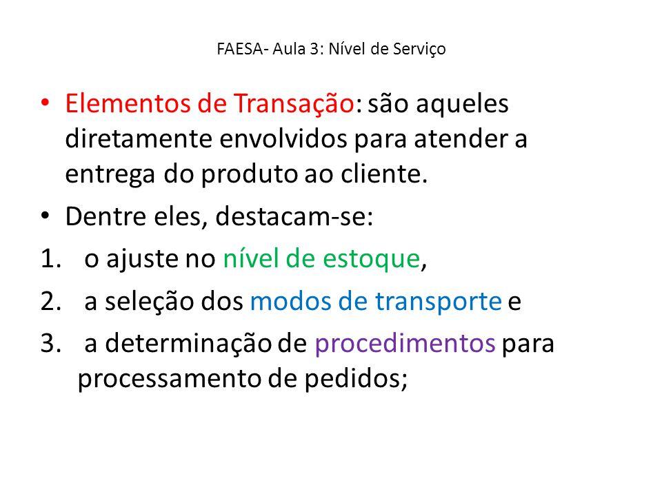 FAESA- Aula 3: Nível de Serviço Elementos de Transação: são aqueles diretamente envolvidos para atender a entrega do produto ao cliente. Dentre eles,