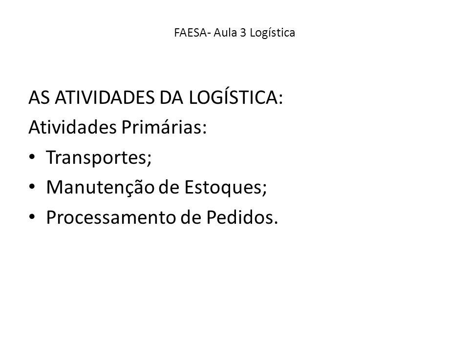 AS ATIVIDADES DA LOGÍSTICA: Atividades Primárias: Transportes; Manutenção de Estoques; Processamento de Pedidos.