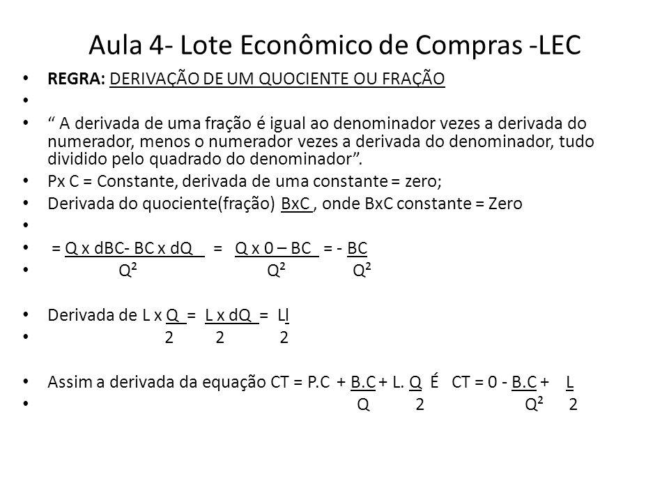 """Aula 4- Lote Econômico de Compras -LEC REGRA: DERIVAÇÃO DE UM QUOCIENTE OU FRAÇÃO """" A derivada de uma fração é igual ao denominador vezes a derivada d"""