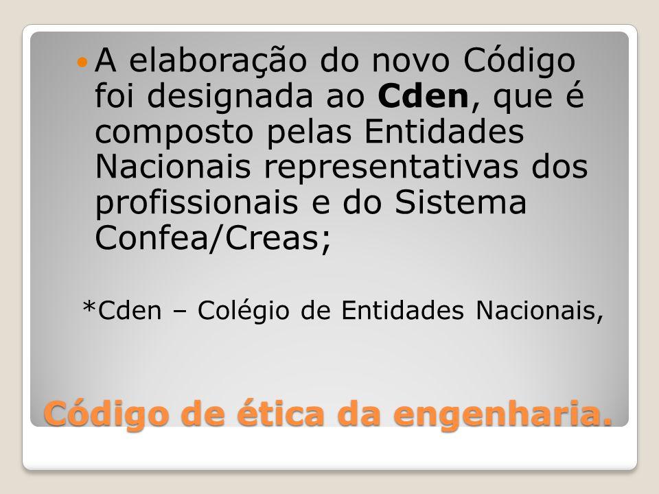 Código de ética da engenharia. A elaboração do novo Código foi designada ao Cden, que é composto pelas Entidades Nacionais representativas dos profiss
