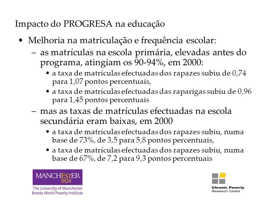 Impacto do PROGRESA na educação Melhoria na matriculação e frequência escolar: –as matrículas na escola primária, elevadas antes do programa, atingiam os 90-94%, em 2000: a taxa de matrículas efectuadas dos rapazes subiu de 0,74 para 1,07 pontos percentuais, a taxa de matrículas efectuadas das raparigas subiu de 0,96 para 1,45 pontos percentuais –mas as taxas de matrículas efectuadas na escola secundária eram baixas, em 2000 a taxa de matrículas efectuadas dos rapazes subiu, numa base de 73%, de 3,5 para 5,8 pontos percentuais, a taxa de matrículas efectuadas dos rapazes subiu, numa base de 67%, de 7,2 para 9,3 pontos percentuais