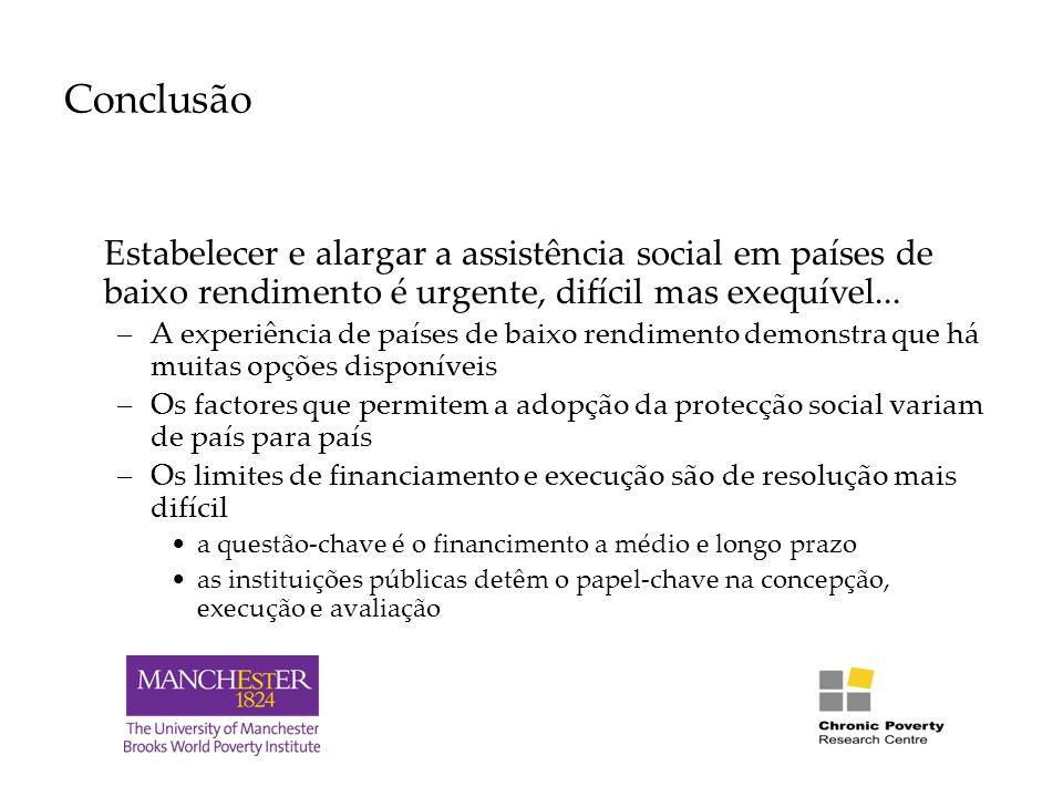 Conclusão Estabelecer e alargar a assistência social em países de baixo rendimento é urgente, difícil mas exequível...